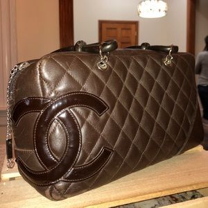 Vintage lambskin brown Chanel handbag